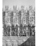 FRANCE Amiens Cathedral Crowning of Stalls - SUPERB 1843 Antique Print - $18.00