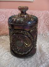 Vintage 2 Pc Imperial Carnival Glass Purple Cookie Cracker Jar Hob Star ... - $94.05