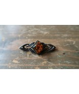 Vintage Sterling Silver Amber Brooch Pin 3.8cm - $21.54