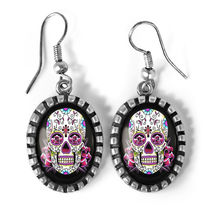 Pink Day of the Dead Sugar Skull Girl Antique Silver Glass Halloween Ear... - $17.99