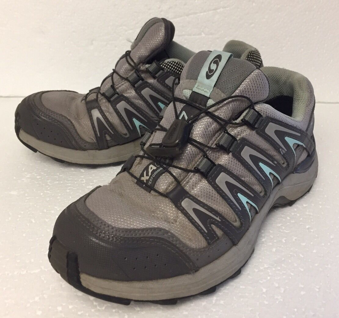 Women's Salomon XA Comp 7 Trail-Running Hiking Athletic Shoes Size 6.5 Gray Teal