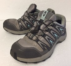 Women's Salomon XA Comp 7 Trail-Running Hiking Athletic Shoes Size 6.5 Gray Teal - $28.77