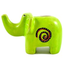 SMOLArt Hand Carved Soapstone Lime Green Elephant Figurine Made in Kenya image 1