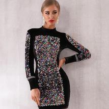 Sexy Black Long Sleeve Sequined Luxury Club Dress image 2