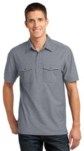 Port Authority K557 Men's Double Pocket Polo Shirt - Monument Grey/White - $20.78+