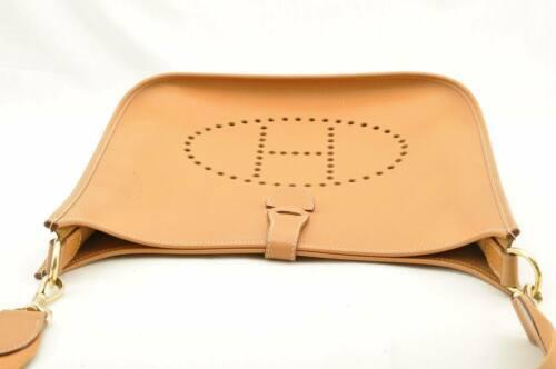 HERMES Evelyn GM Shoulder Bag Leather Brown Auth 9208 image 7