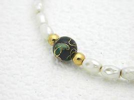 VTG Faux Pearl Black Cloisonne Floral Bead Bracelet image 3