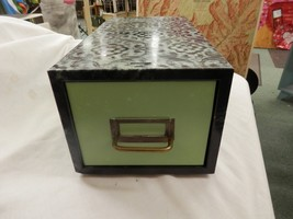 Metal Steel Green Industrial Age File Cabinet Box Drawer Card Vtg Crafts... - $49.99