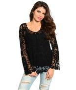 Romantic Sexy Boho Lace Jrs Tunic in White or Black, Party or Casual Dre... - $23.95