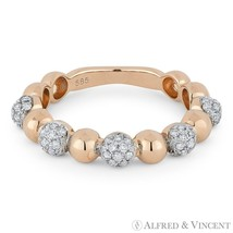 0.39 ct Diamond Pave & Ball Stackable Band 14k Rose & White Gold Right-H... - $999.99