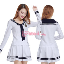 Women's White Long Sleeve School Uniform Sailor Suit Outfit Cosplay Costume - $34.99
