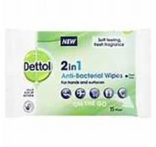 Dettol 2 in 1 Anti Bacterial Wipes 15's - 6 Packs - $21.99