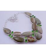 Imperial Jasper -Peridot Silver Overlay Handmade  Necklace Jewelry Us-1 - $32.00