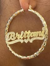 "14k gold overlay personalized Hoop Earrings 2  1/2""  /#c2 - $49.99"