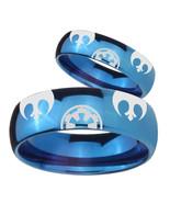 Star Wars Rebel Alliance & Galactic Empire Mirror Blue Dome Tungsten Rin... - $79.98