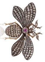 Antique Inspire 2.9Ct Rose Cut Diamond 925 Silver Butterfly Brooch Pin C... - $294.00
