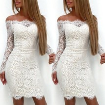 Women Lace Bodycon Long Sleeve Summer Cocktail Evening Party Short Mini ... - $27.54