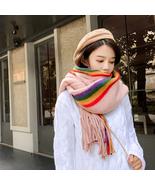 Rainbow Cashmere Scarf Women Winter Warm Shawls Soft Pashmina Striped  - $17.49