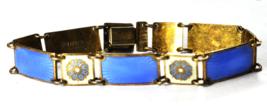 Sterling Gold Vermeil David Anderson Guilloche Enamel Link Bracelet 11mm... - $148.49