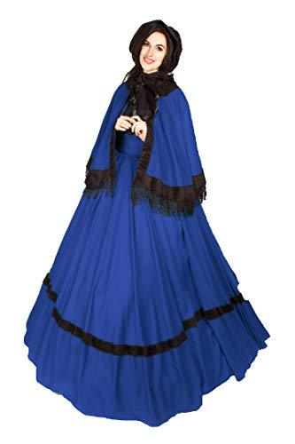 "Reminisce Dickens Victorian 39"" Skirt Cape Sash (French Blue)"