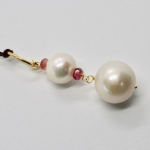 SOLID 18K YELLOW GOLD PENDANT WITH WHITE FW PEARL AND TOURMALINE MADE IN ITALY image 2