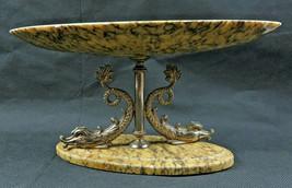 Vintage Onyx Centerpiece dish tray Dophin Mythology Mid Century deco - $89.00