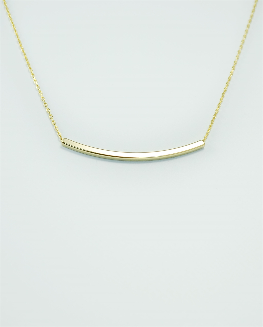 Gold Curved Bar Necklace, Gold Bent Bar Necklace, 16in Pendant Necklace