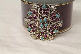 Vintage Sarah Coventry Gold Tone Circle Turquoise Bead Pink Rhinestone B... - $28.33