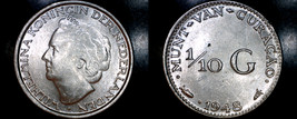 1948 Curacao One Tenth Gulden Silver World Coin - $17.99