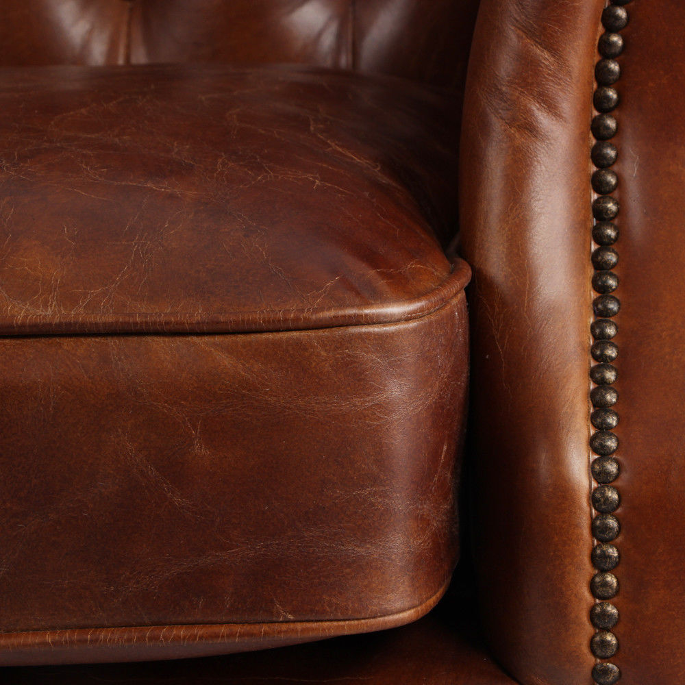 MarquessLife 100%Genunie Leather Handmade Tufted High Back Armchair Antique Sofa image 5
