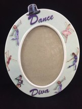 Porcelain Enesco It's All About Dance Diva Oval Picture Frame 5x7 Glitter 2002  - $13.98
