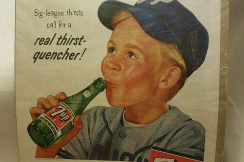 Vintage 1956 7-UP SODA Full-Page Large Magazine Print Ad: Real Thirst Quencher - $12.16