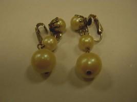 CLIP EARRINGS 3 faux pearls dangling on each CLIP EARRING - $2.96
