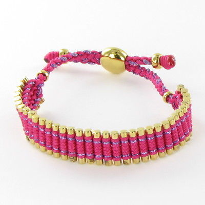 Links of London Friendship Bracelet 12mm Pink Cord Sterling Gold Plated New $325