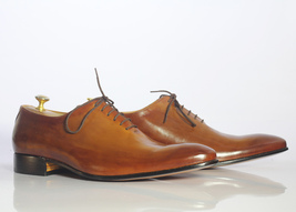 Handmade Men's Tan Leather Lace up Dress/Formal Oxford Leather Shoes image 6