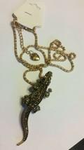 Betsey Johnson Bling citrine yellow Crystal alligator Pendant broach Chain - $9.89