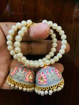 Kundan Jhumka with beg pearls bali earrings Gray Lattest Desgins Jeweler... - $36.62