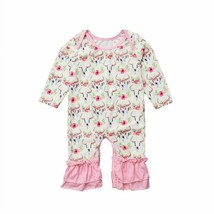 Newborn Infant Babies Girls Deer Long Sleeve With Raffles Cotton Rompers... - $16.99