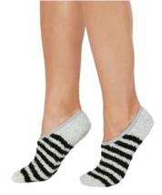 Charter Club Women's Colorblocked Gray Black Striped Fuzzy Cozy Socks NEW w Tag