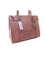 Guess Logo Purse Satchel Hand Bag Large Tote Mauve Pink Silver Pinole NWT - $108.89