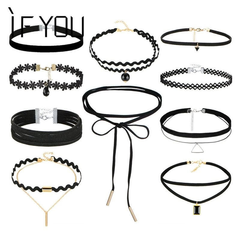 Primary image for IF YOU 10 PCs/Set Gothic Sexy Black Leather Lace Flower Fashion Hollow Choker Ne