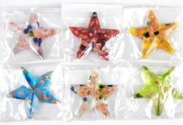 Murano Style Multi Colored Gliiter Art Glass Star Pendant For Necklace 6... - $1.00