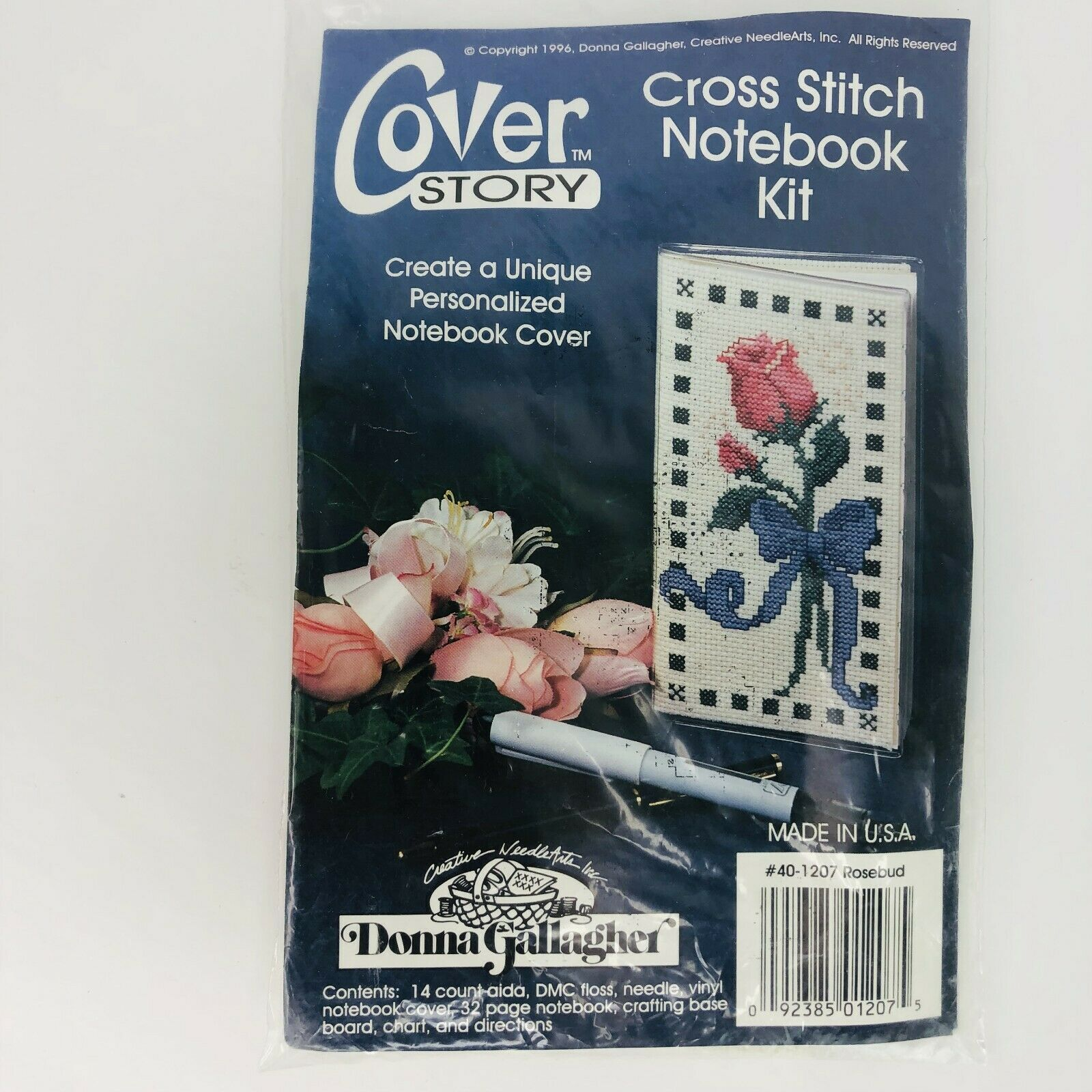 Primary image for Donna Gallagher Counted Cross Stitch Kit Notebook Checkbook Cover Rosebud 401207