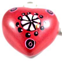 Tabaka Chigware Hand Carved Kisii Soapstone Red Heart Stone Keychain image 3