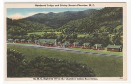 Newfoundland Lodge Cherokee North Carolina 1940s linen postcard - $5.94