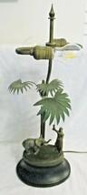 Antique German Cold Painted Bronze Orientalist Lamp Palm Elephant Arab T... - $1,188.00