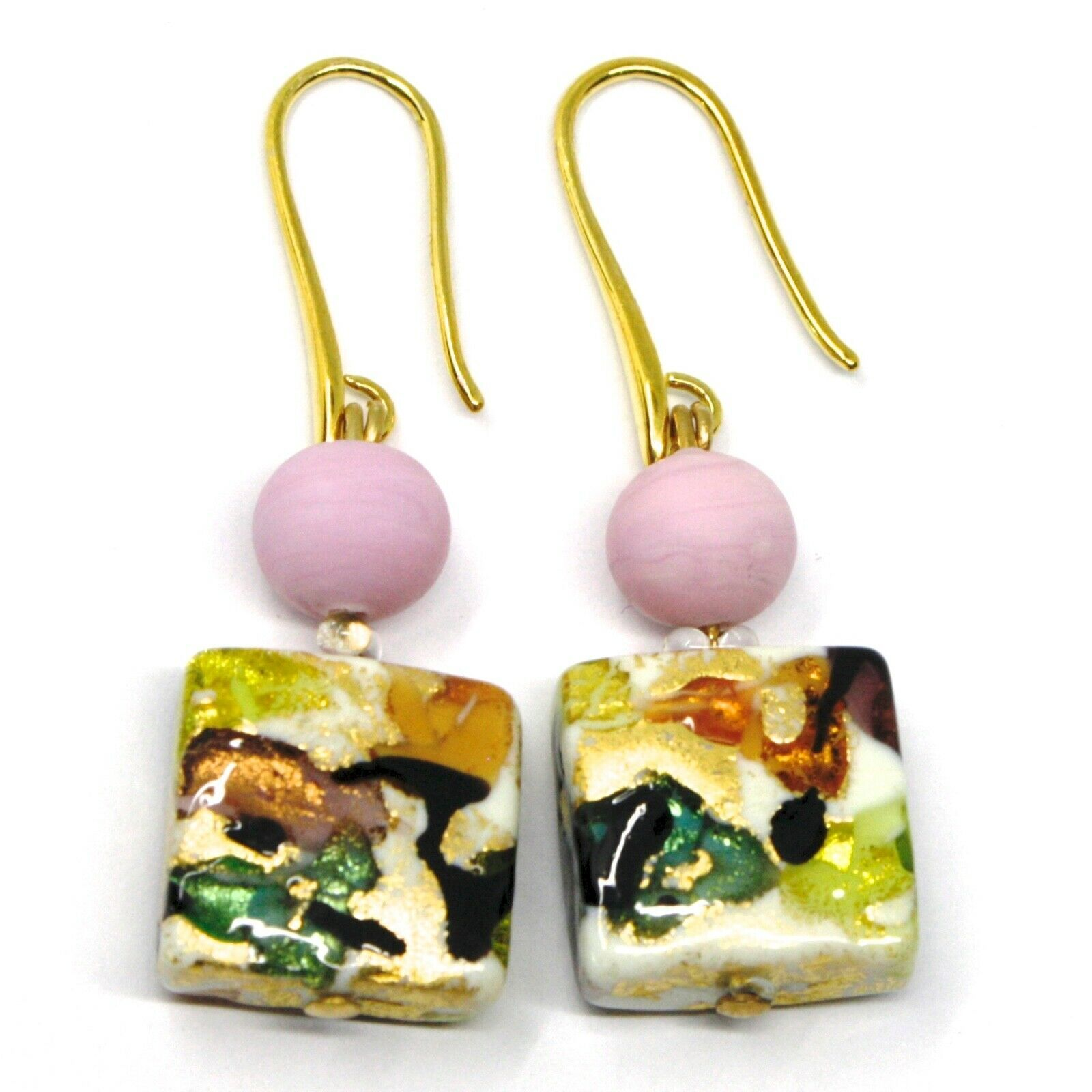 PENDANT EARRINGS PINK MULTI COLOR SQUARE MURANO GLASS GOLD LEAF MADE IN ITALY