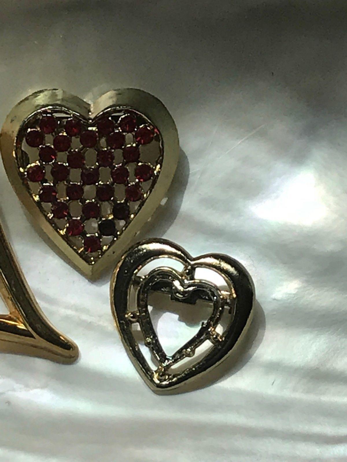 Vintage Lot of 3 Avon Signed Goldtone Slanted Red Rhinestone Encrusted Valentine image 4