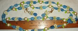 VTG  ART DECO LUCITE FLORAL GARDEN DAISY NECKLACE DANGLE DROP CLIP EARRI... - $137.99