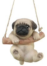 "Cute Lifelike Teacup Pug Puppy Macrame Branch Hanger 5.5""Tall With Jute ... - $24.99"